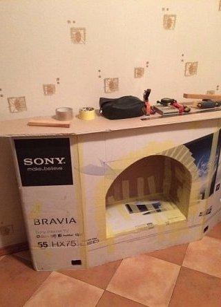 Фальш камин из картонной коробки от телевизора