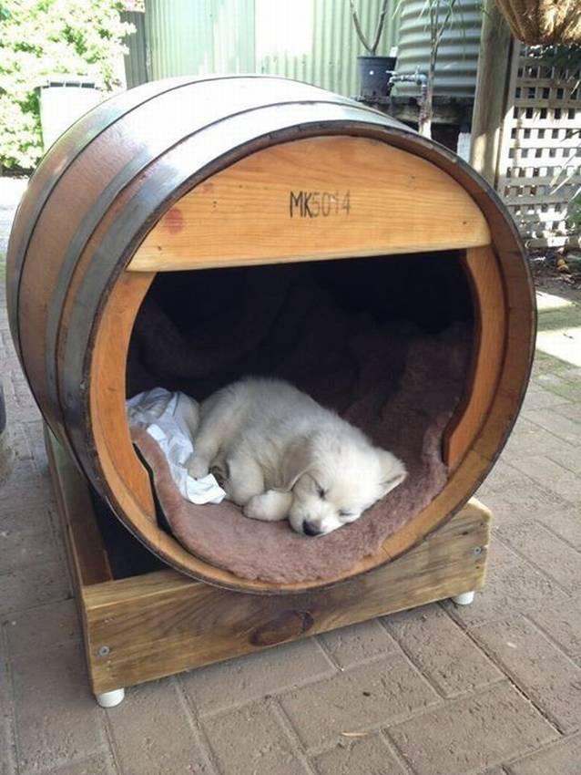 Собачья будка конура из деревянной бочки