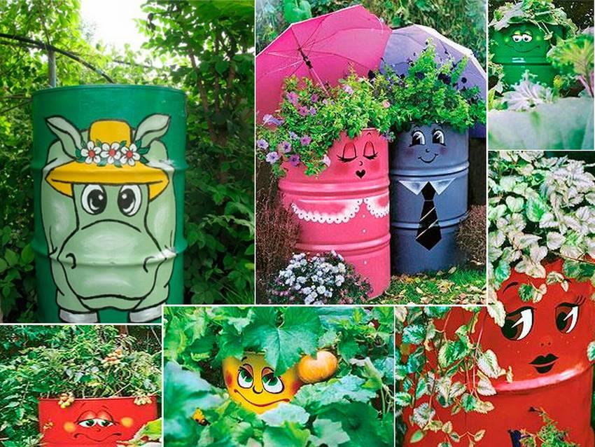 Цветы в бочках фото