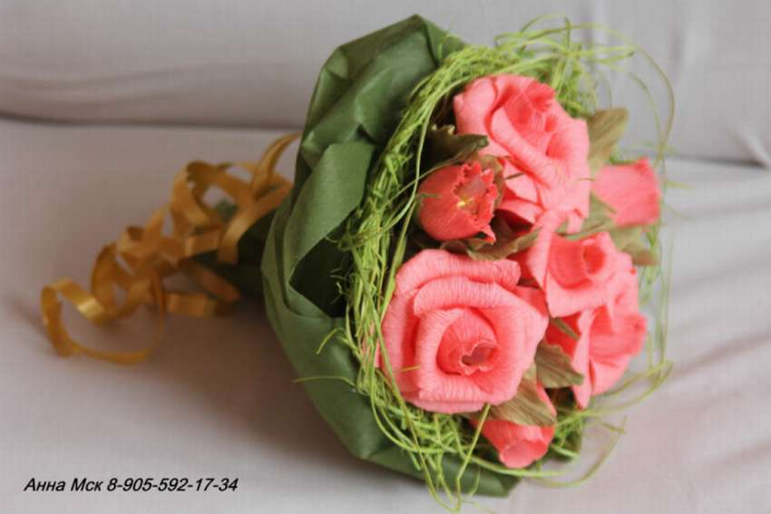 Букет цветов, как упаковать букет роз из гофрированной бумаги