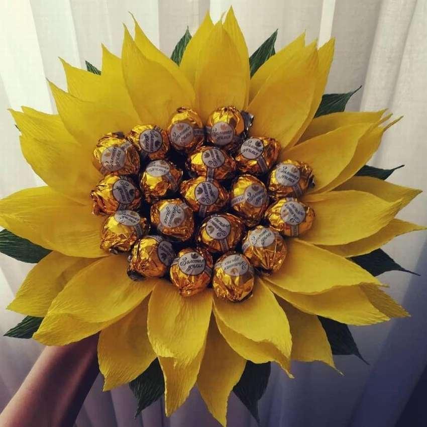 Растения, подсолнух букет из конфет фото