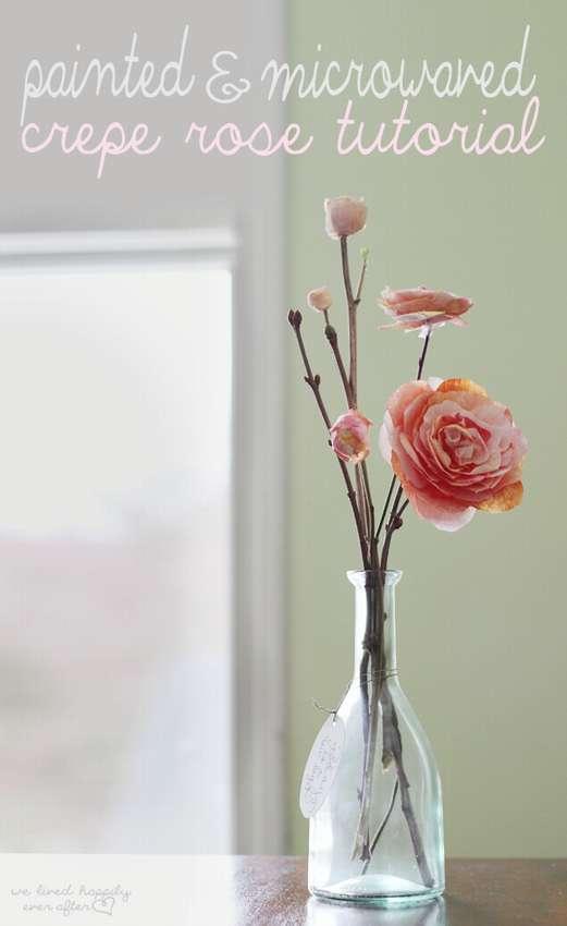 как сделать розы из крепированной бумаги