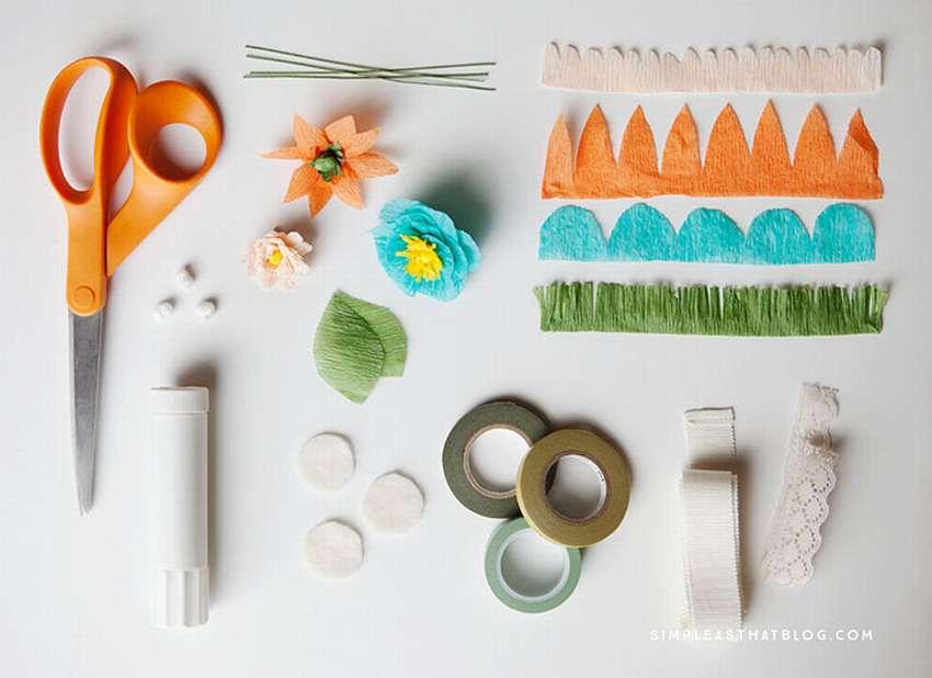 как сделать цветы из крепированной бумаги