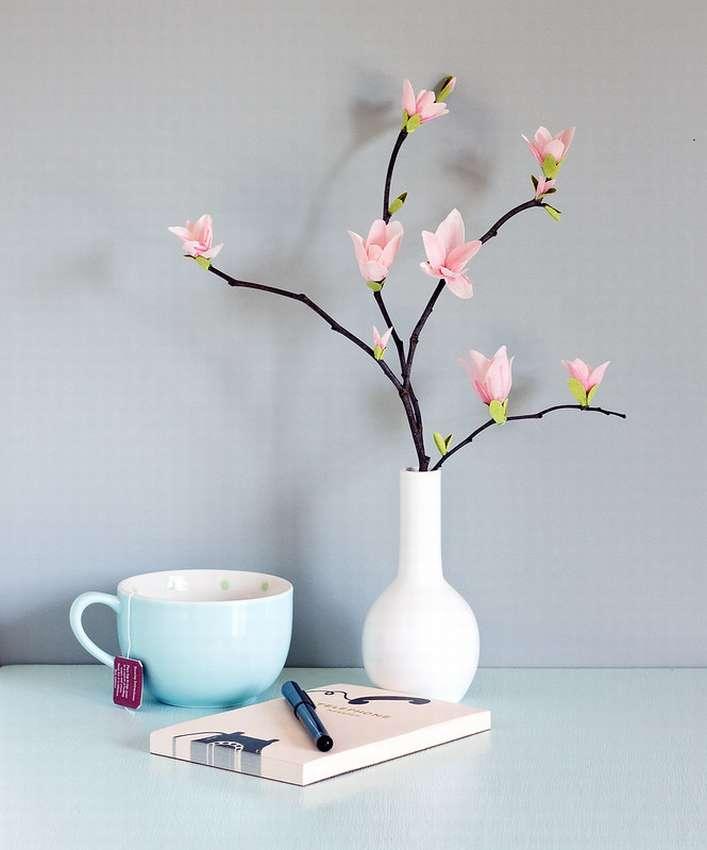 цветок магнолия из крепированной бумаги