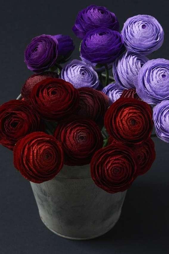 цветы из крепированной бумаги пошагово