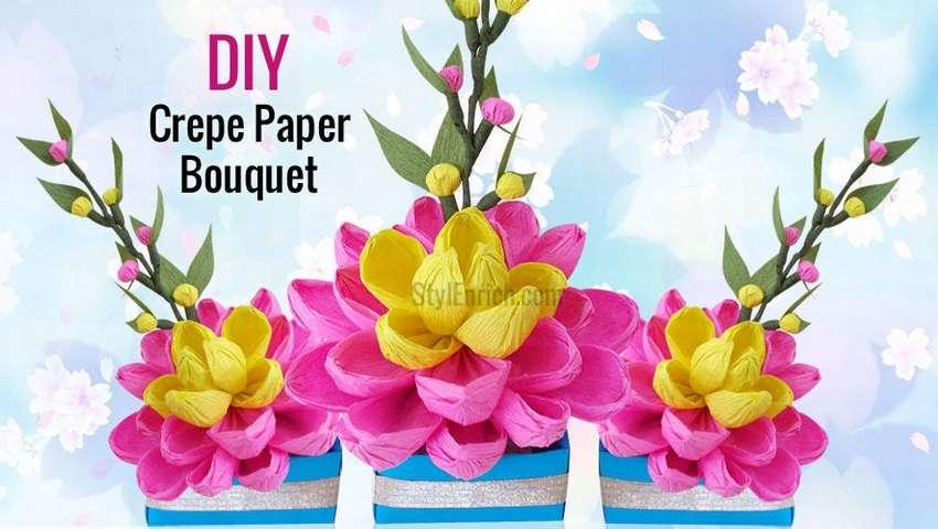 букет цветов из крепированной бумаги