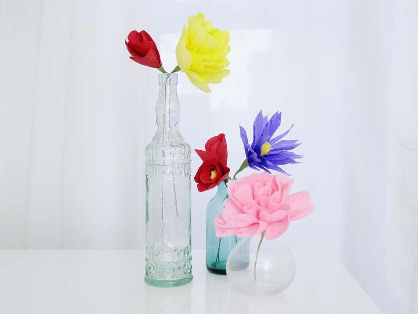 как сделать цветы из креповой бумаги