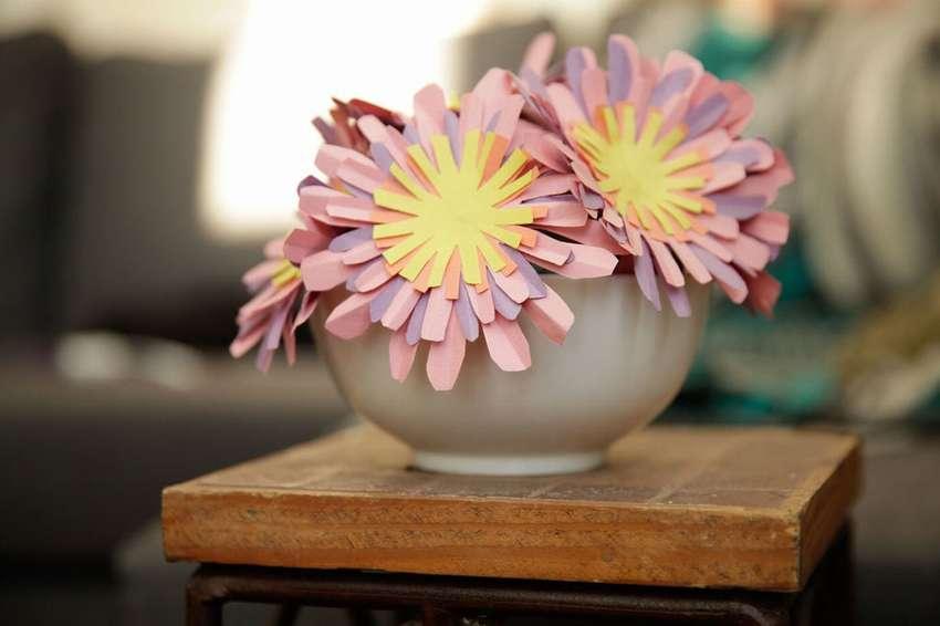 простые объемные цветы из бумаги своими руками