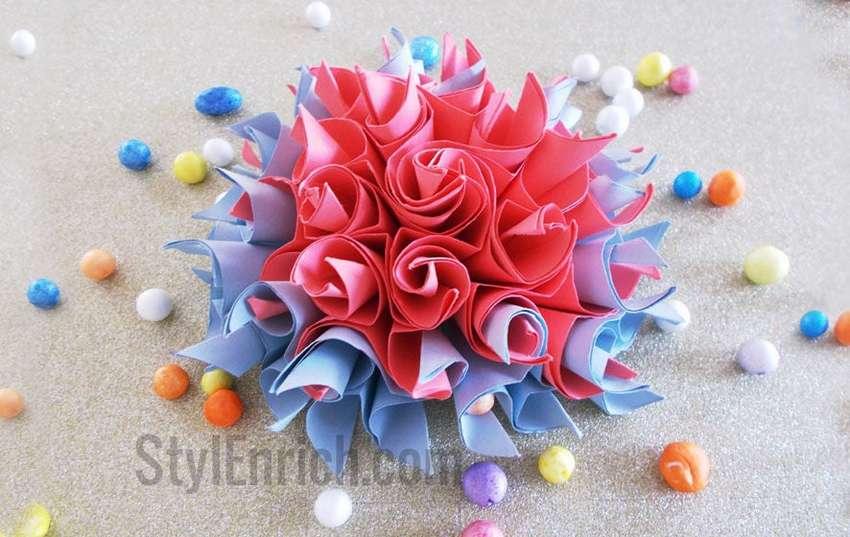 легкие цветы оригами из бумаги