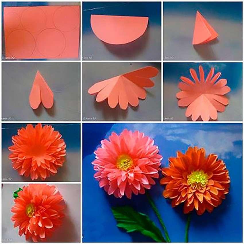 легкие цветы из бумаги