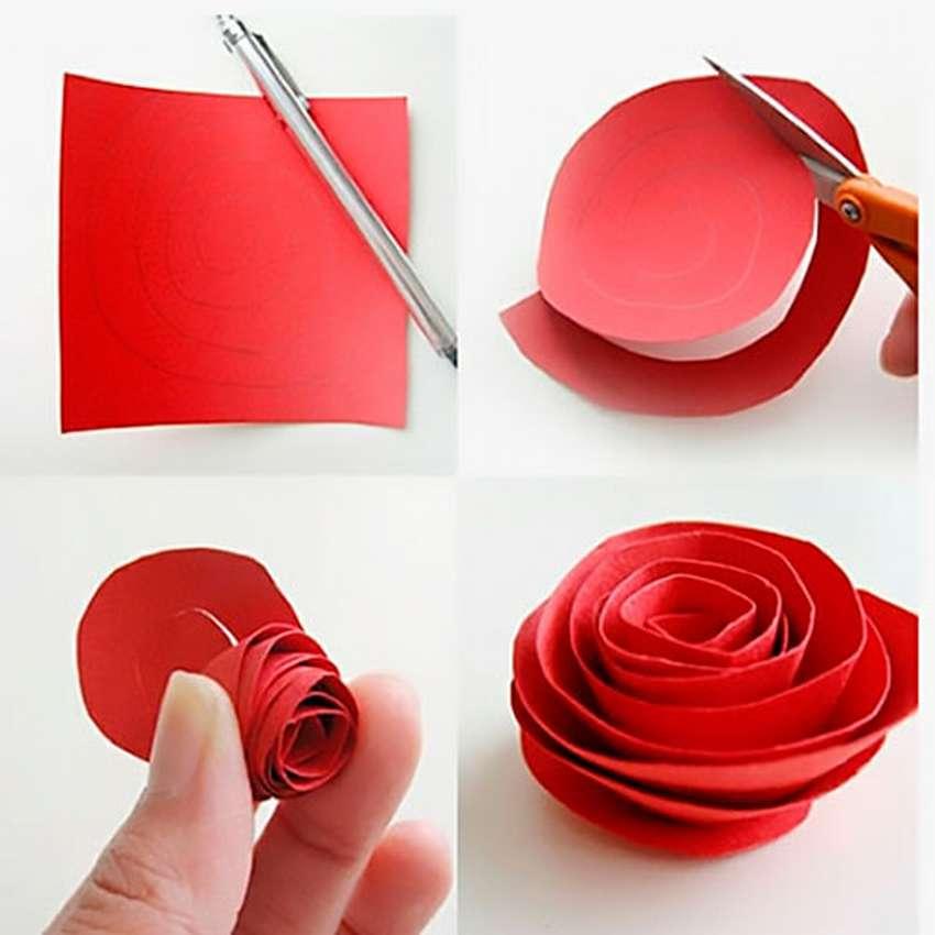 легкая роза из бумаги
