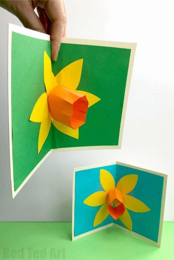 открытка с объемным цветком из бумаги своими руками