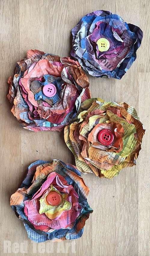легкие цветы из газеты