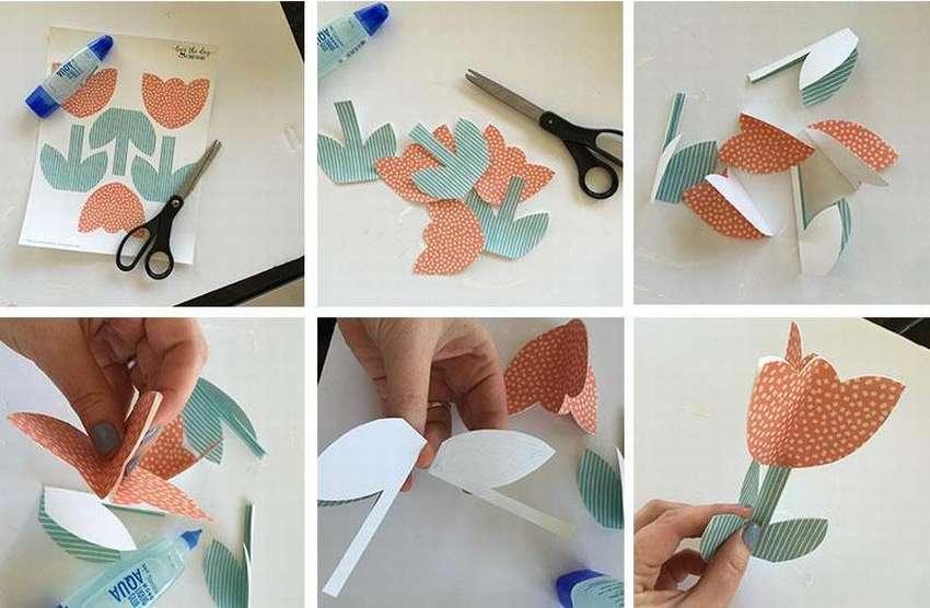 тюльпан из бумаги по шаблону