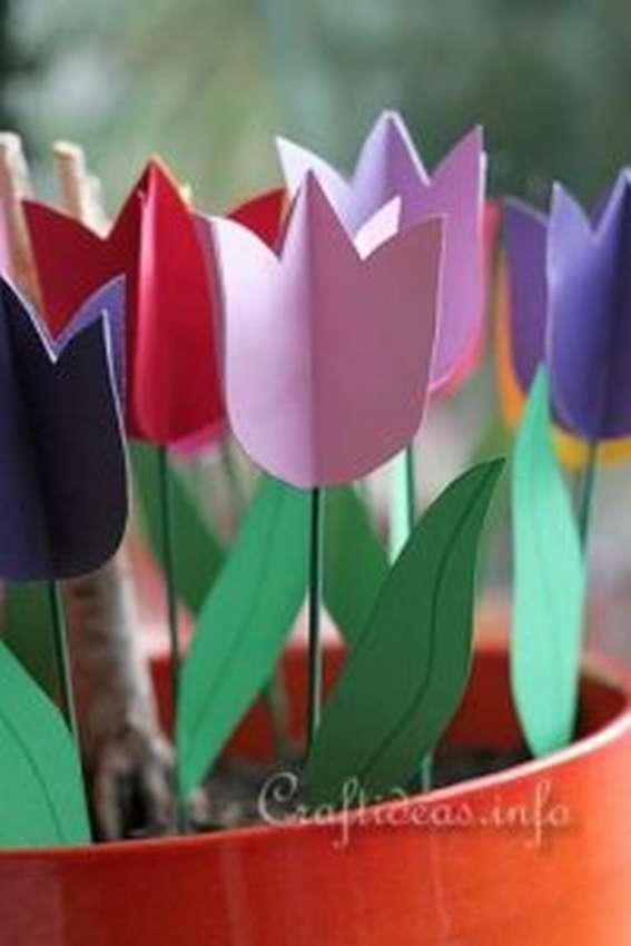 тюльпаны из бумаги для начинающих