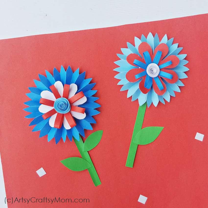 простой цветок из бумаги для начинающих