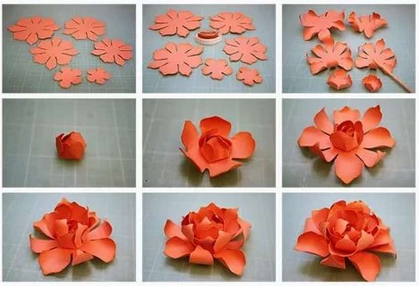 объемный цветок из бумаги своими руками