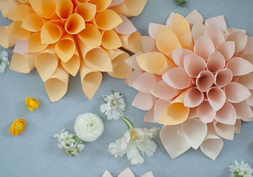 объемный цветок георгин из бумаги