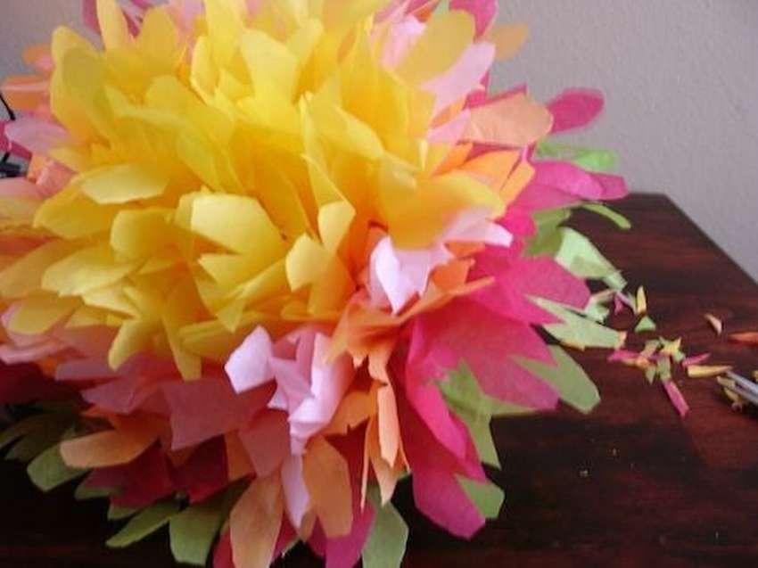 мексиканские цветы из цветной бумаги