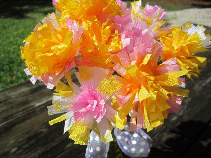 объемные цветы из гофрированной бумаги пошагово
