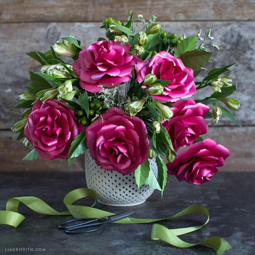 объемные розы из бумаги по шаблону
