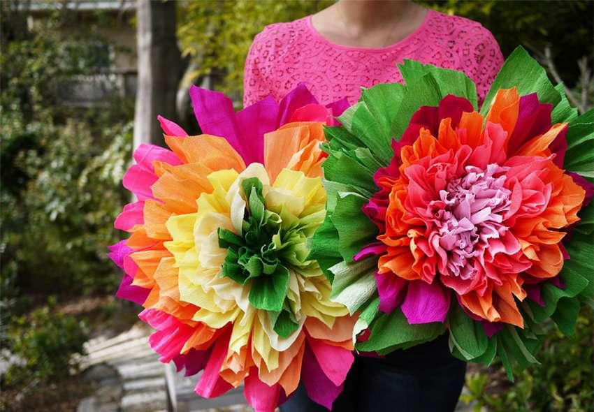 объемные цветы из крепированной бумаги