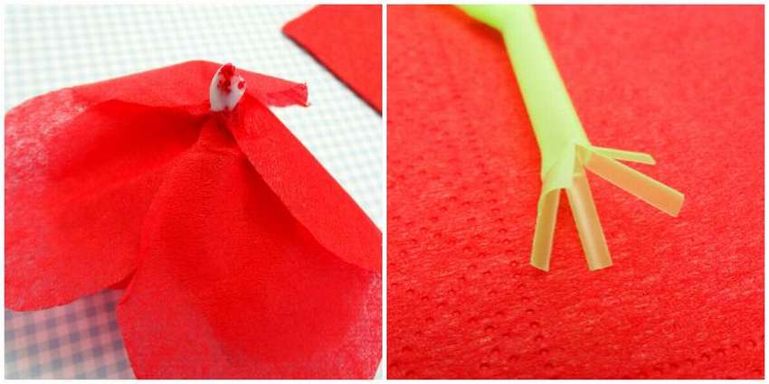 роза из бумажных салфеток своими руками