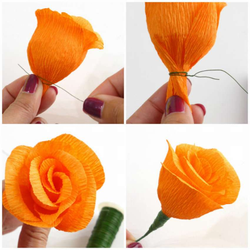 розы из гофрированной бумаги пошаговая инструкция