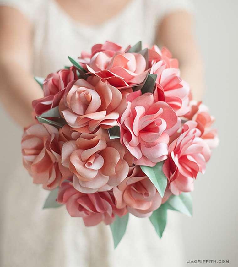 розы из бумаги для свадебного букета