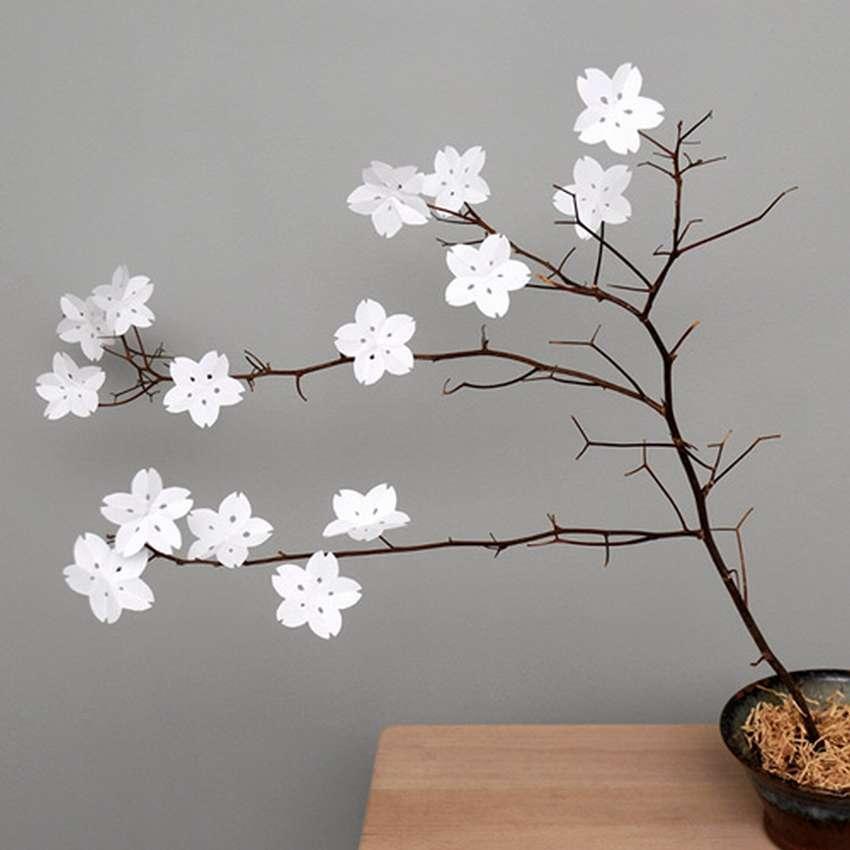 как сделать цветы сакуры из бумаги