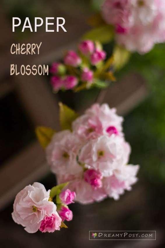 цветы сакуры из салфеток