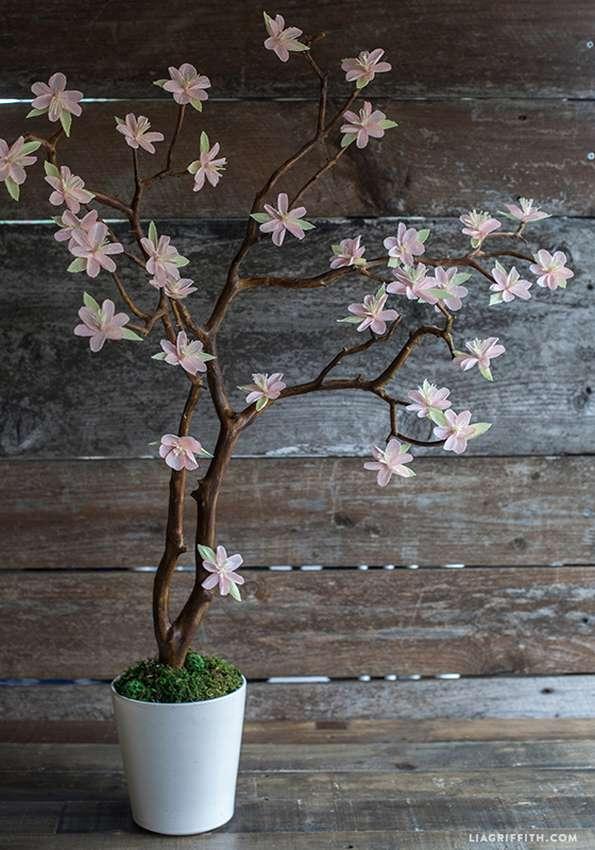 цветы сакуры из гофрированной бумаги