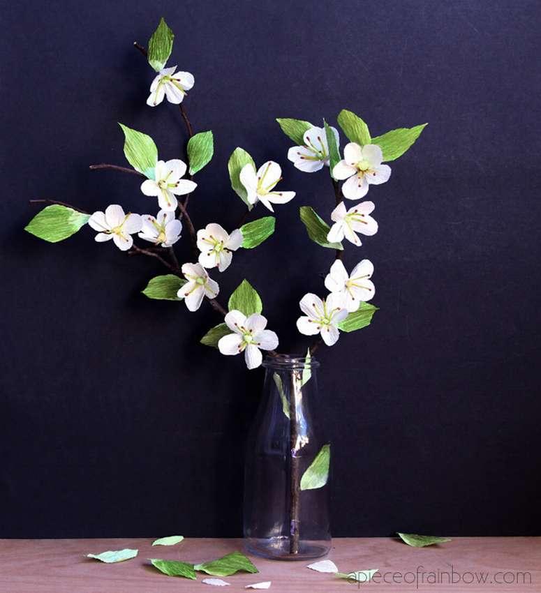 как сделать цветы сакуры из гофрированной бумаги
