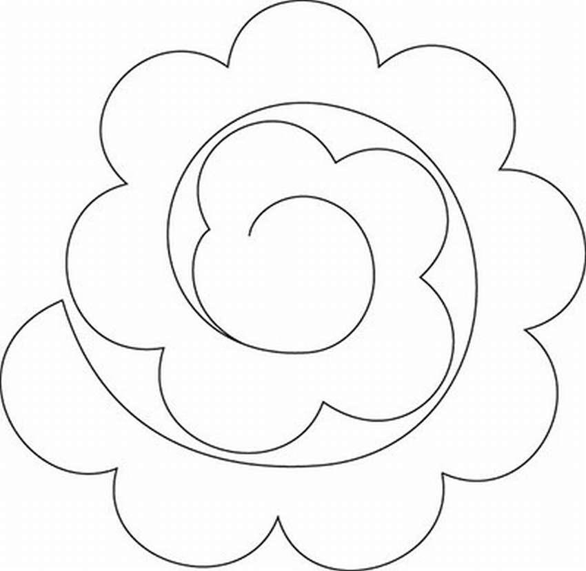 цветок из бумаги на открытку шаблон