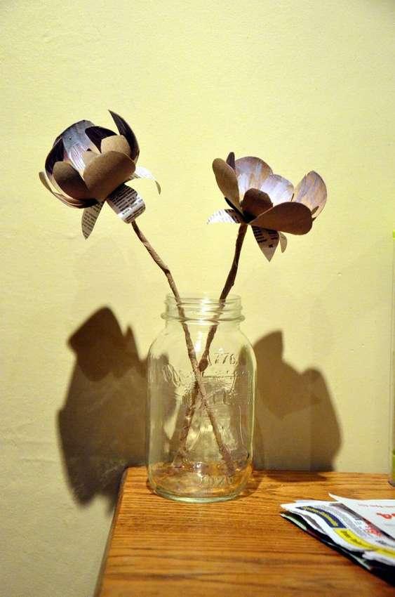 цветы из втулок от туалетной бумаги