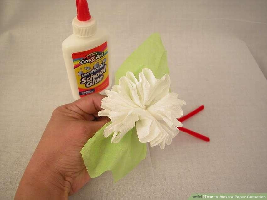 цветок гвоздика из туалетной бумаги