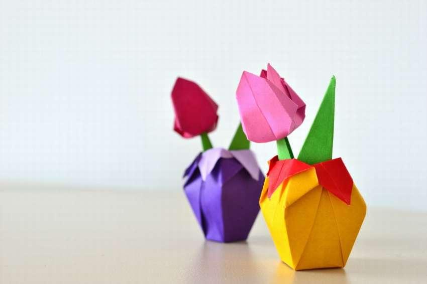 тюльпан из цветной бумаги мастер класс с пошаговым фото