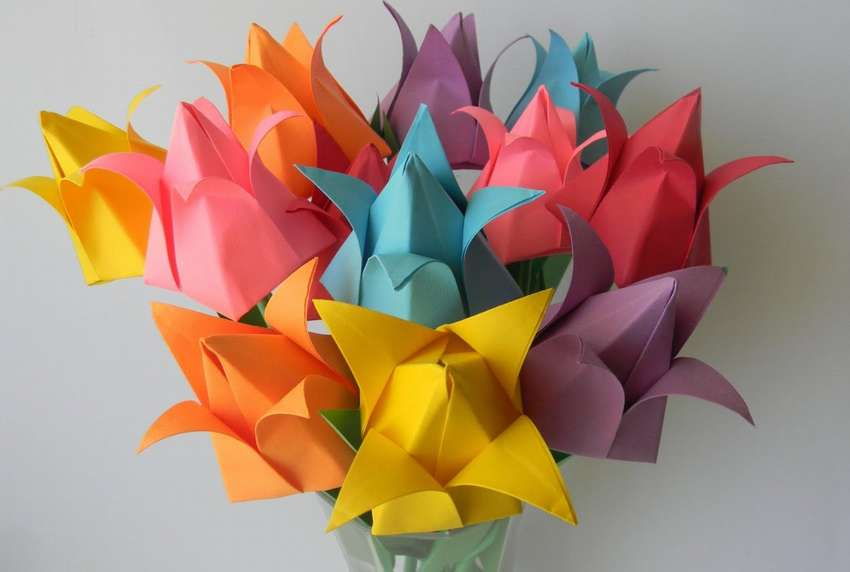 Картинки тюльпаны из бумаги, сделать ребенком открытку