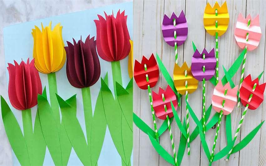 Тюльпан из бумаги открытка, днем рождения открытки