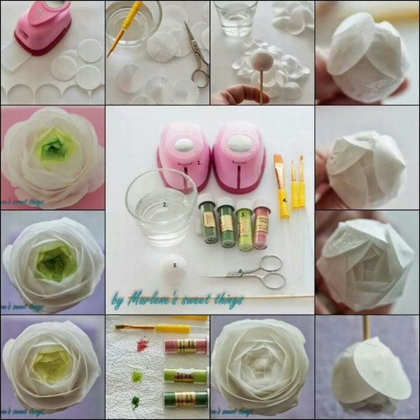 цветы из вафельной бумаги своими руками