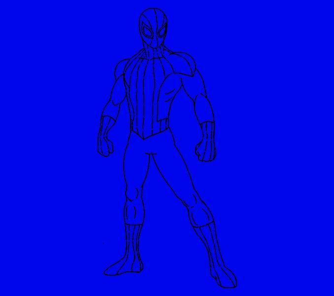 Рисунок человека паука карандашом в полный рост поэтапно применить один