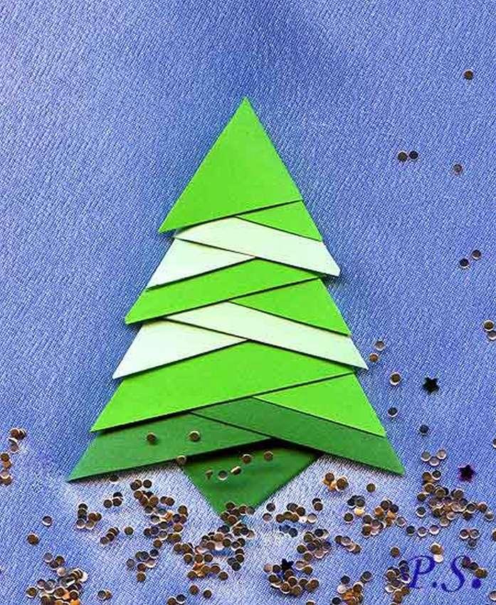 Елка оригами открытка, день