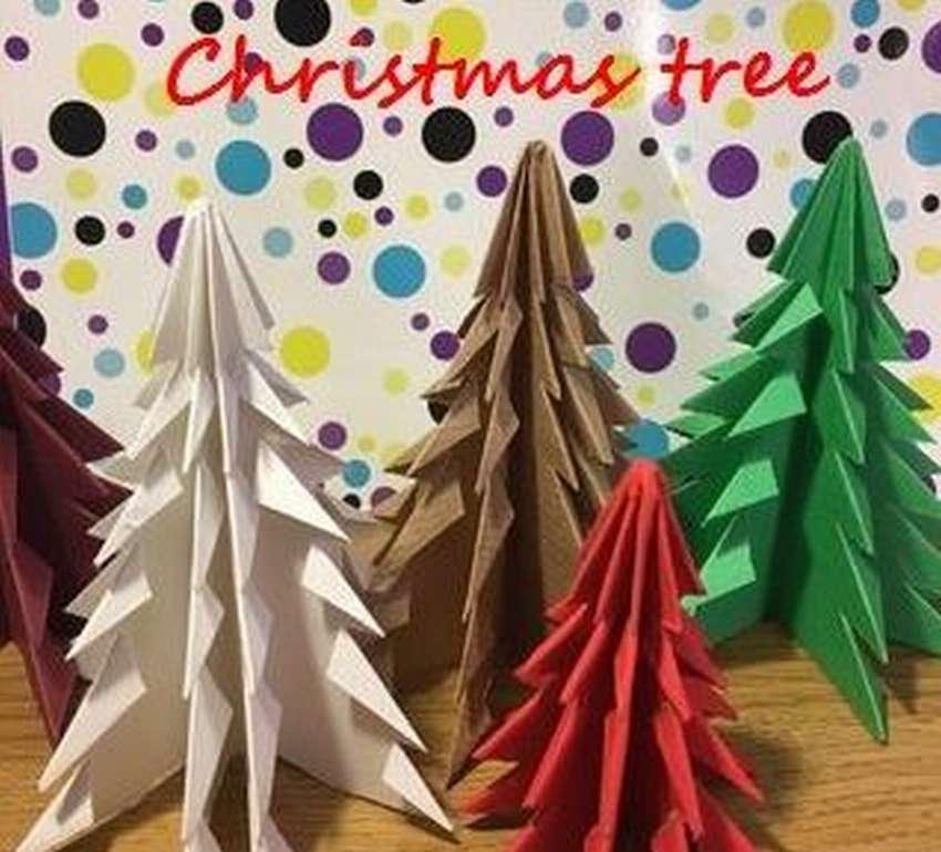 елка оригами пошагово