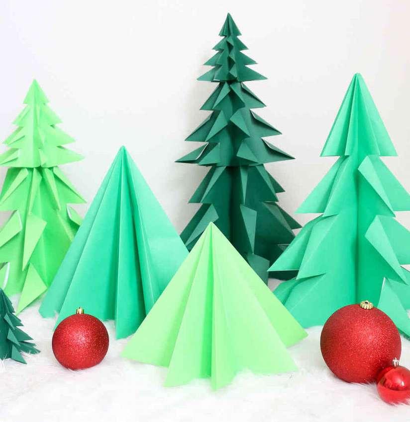 оригами елки инструкция