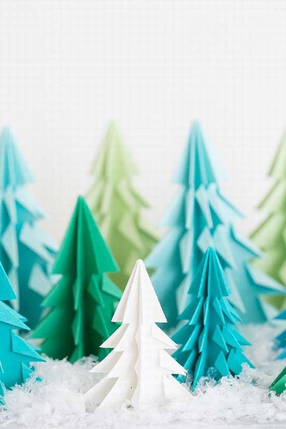 оригами елки из бумаги