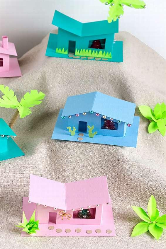 домик из цветных бумаг фото просто
