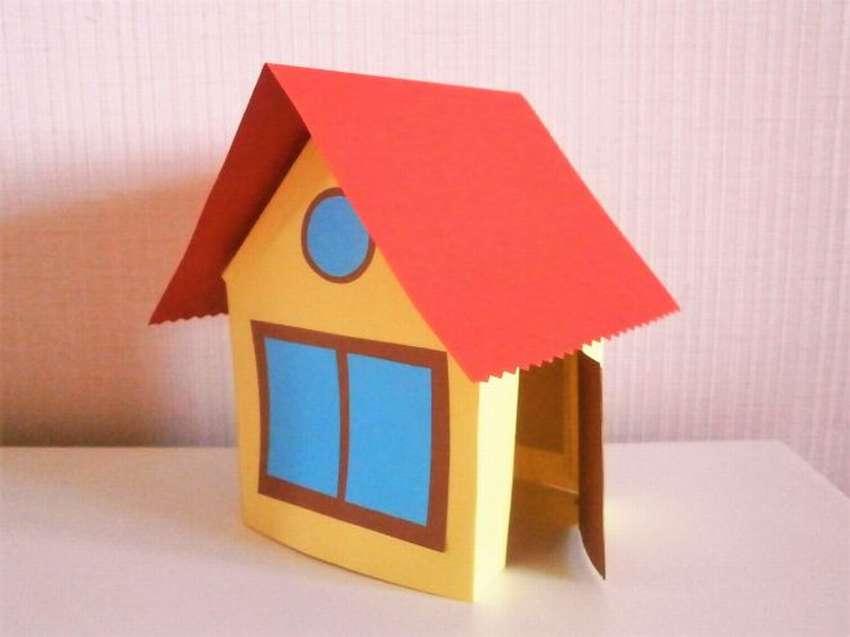 поделка домик из бумаги для детей