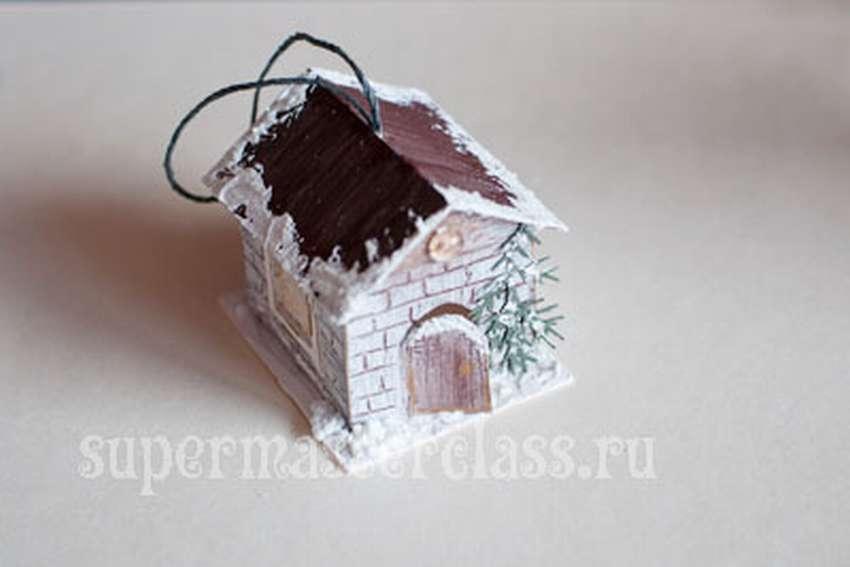 домик из бумаги на Новый год