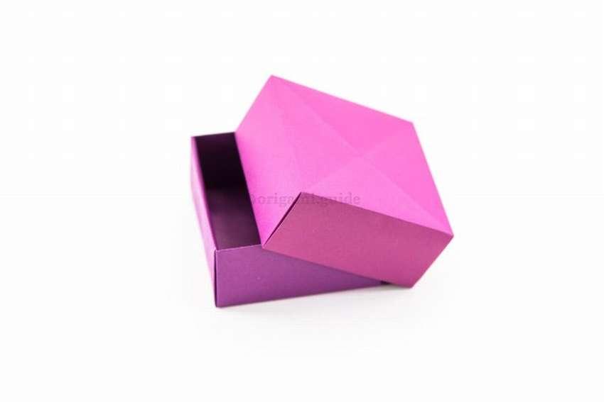 коробочка с крышкой оригами из бумаги