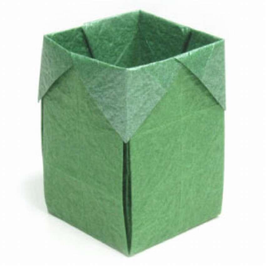 как сложить коробку оригами для мусора